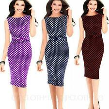 Polka Dot Bodycon Prom Sleeveless Summer Office Spotty Knee Length Dress size