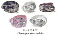 US Seller New Women Cowgirl Western Rhinestone Bling Snap On Buckle Leather Belt