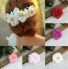 Beachy White Pink Rose Flower Hair Clip Brooch Wedding Bridal Corsage Hair Choo