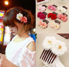 Double Silk Rose Flower Hair Comb Hair Clip Wedding Bridal Party Beachy For Girl