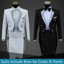 New Mens Folwer Wedding Tuxedo SUIT&PANTS Jackets Formal Tail Coat Trouses Party