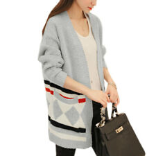 Women Long Sleeve Front Opening Argyle Stripes Loose Fit Sweater Cardigan