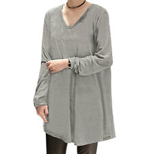 Ladies V Neck Long Sleeves Loose Pullover Tunic Top
