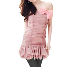 Women Strapless Ruched Front Tiered Hem Tube Mini Dress