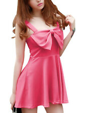 Women Shoulder Straps Bowknot Accent Front Stretchy Sexy Dress