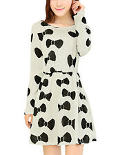 Lady Long Sleeve Round Neck Bowknot Pattern A Line Dress