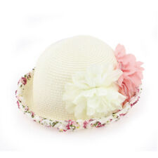 Lady Women Summer Floral Wide Brim Straw Beach Sun Hat Floppy Cap