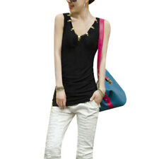 Ladies V Neck Sleeveless Semi Sheer Stretchy Summer Top Shirt