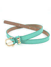 Ladies Mini Bowtie Detail Single Pin Buckle Perforated Faux Leather Waist Belt