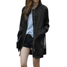 Women Stand Collar Long Sleeves Zip Up Mesh Panel See Through Trench Jacket
