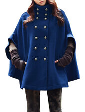 Women Stand Collar Double Breasted Seam Pockets Worsted Poncho Coat
