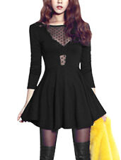 Woman Mesh Panel Backless Long Sleeves Pullover Flare Dress