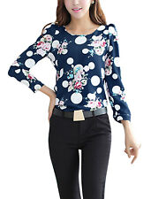 Women Long Sleeves Puff Shoulder Floral Prints Pullover Chiffon Tops