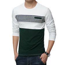 Men Pullover Plaids Print Contrast Color Slim Fit Casual T-Shirt