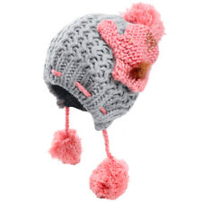 Ladies Stretchy Pom Pom Style Color Block Fashion Knitted Hat