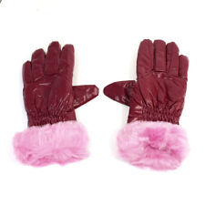 Women Ladies Faux Fur Corduroy Winter Gloves Ornament