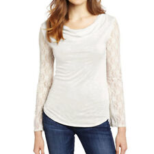 Women Cowl Neck Floral Lace Long Sleeves Slim Fit Top
