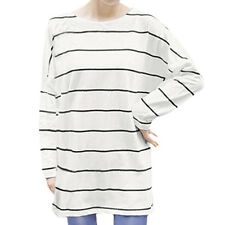 Women Round Neck Long Batwing Sleeves Horizontal Stripes Loose Fit Tunic Tee