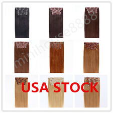 USA STOCK !Full Head 22 inch Indian Remy Human Hair Clip In Extensions 8pcs&140g