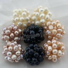 Hand Woven 4-5mm Round Freshwater Pearl Beads Jewelry Ball 18-20mm -Choose