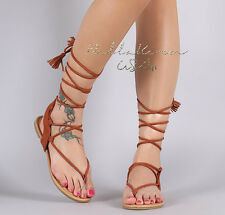 CHIC Brown  BOHO TASSEL Womens Sandals Gladiator Lace Up Faux Suede Flats Shoes
