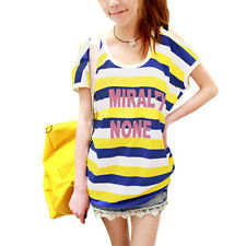 Lady Scoop Neck Short Sleeve Stripes Letters Front Casual Blouse