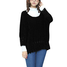 Ladies Scoop Neck Batwing Cropped Sleeve Mohair Knit Sweater
