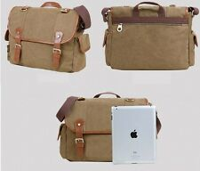 Men's Vintage Casual Canvas Leather Shoulder Messenger Bag School Military Bag