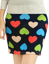 Women Elegant Allover Hearts Print Over Hip Design Mini Skirt