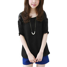 Women Round Neck Short Sleeves Corchet Mesh Panel Casual Tops