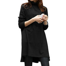 Women Turtle Neck Long Sleeves Low High Hem Loose Tunic Top