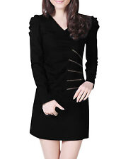 Ladies Long Sleeves V Neck Casual Autumn Above Knee Dress