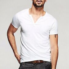 Casual Mens Fitted T-shirt Slim Short Sleeve V Neck Cotton Basic Tee HT-256.F