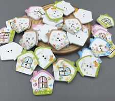 2-Hole House Wooden Buttons Mixed color Fit Sewing Scrapbooking decoration 25mm
