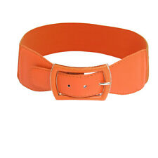 Woman Faux Leather Coated Metal Single Pin Buckle Stretchy Belt Ornament