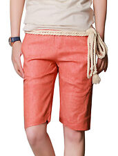 Men Double Pockets Front Cuffed Casual Linen Shorts w Rope Strap