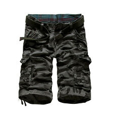Men Mid Rise Straight Camouflage Pattern Casual Capris Cargo Shorts