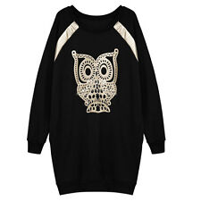 Woman Owl Pattern Round Neck Raglan Sleeves Loose Fit Tunic Top