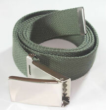 NEW FLIP TOP ADJUSTABLE WEB OLIVE GREEN CANVAS GOLF BELT CHROME BUCKLE MEN WOMEN
