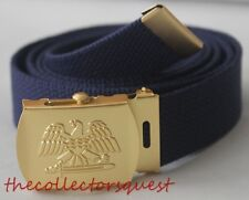 NEW GOLD EAGLE ADJUSTABLE NAVY BLUE CANVAS MILITARY GOLF WEB BELT VINTAGE BUCKLE
