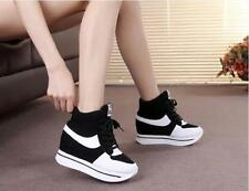 New Womens Lace Up Wedge High Top Platform Sneakers Trainers Shoes Sports Boots