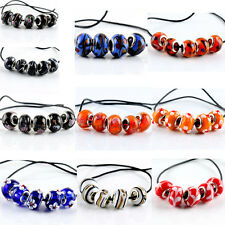 5pcs PLATED SILVER MURANO GLASS BEAD FIT EUROPEAN CHARM BRACELET DIY Beads