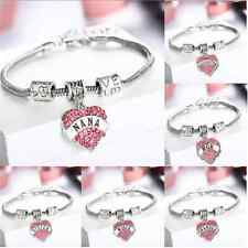 Fashion FAMILY BRACELET CHIC LOVE HEART CRYSTAL CHARM PENDANT SILVER TONE BANGLE