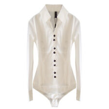 Lady Girl Smart Work Fitted Office School Formal White Bodysuit Blouse Shirt Top