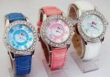 1 pcs HelloKitty Cystal Girl wrist Student leather Watch quartz 5 colours ZW121