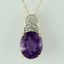 Solid Gold Amethyst Gemstone & Diamond Solitaire Pendant GSP550
