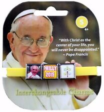 Roxo Show Your Faith Pope Philly 2015 Interchangeable Charm Bracelet Yellow NEW
