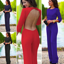 Sexy Womens Long Sleeve Bodycon Backless Clubwear Party Jumpsuit Romper Trousers