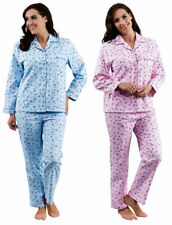 Peochi Womens Floral Pyjamas Ladies 100% Brushed Cotton Flower Flannel PJs Set