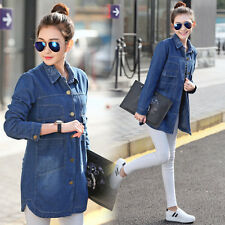 Fahion Women's Lapel Denim Loose Coat Outerwear Jeans Coat Jacket New